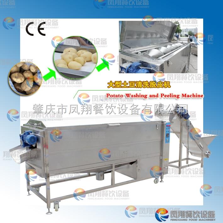 肇庆凤翔 大型螺旋出料式清洗去皮机 土豆去皮 生产线 LXTP-3000